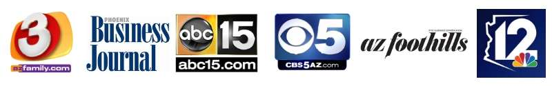 logos from Phoenix Business Journal, CBS5, AZ Foothills magazine, ABC15, and News channel 3 and 12